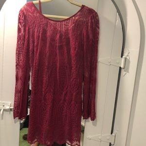 Red wine colored, sheer lace dress